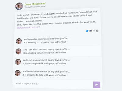 Freebies - Flat Profile and Comment Template PSD