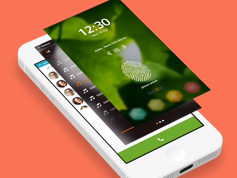 freebie : DPNTO Mobile UI free psd ui ux elements mobile dpnto music caller lock screen luncher