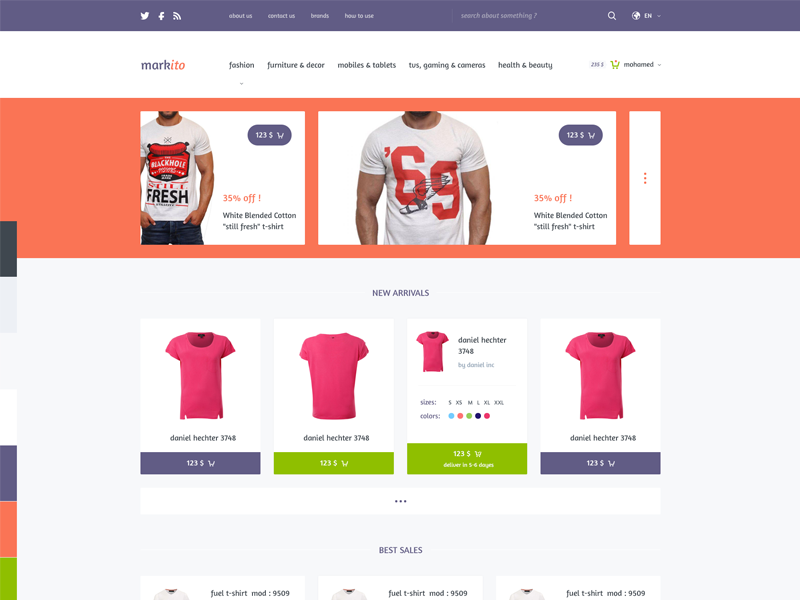 Markito - Freebie Shopping  psd template freebie free psd download shopping shop cart store market