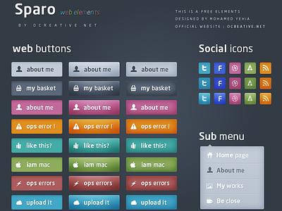 Sparo - Free web elements free psd colors colorfull menu bootstrap sub menu photoshop buttons icons social sparo web elements