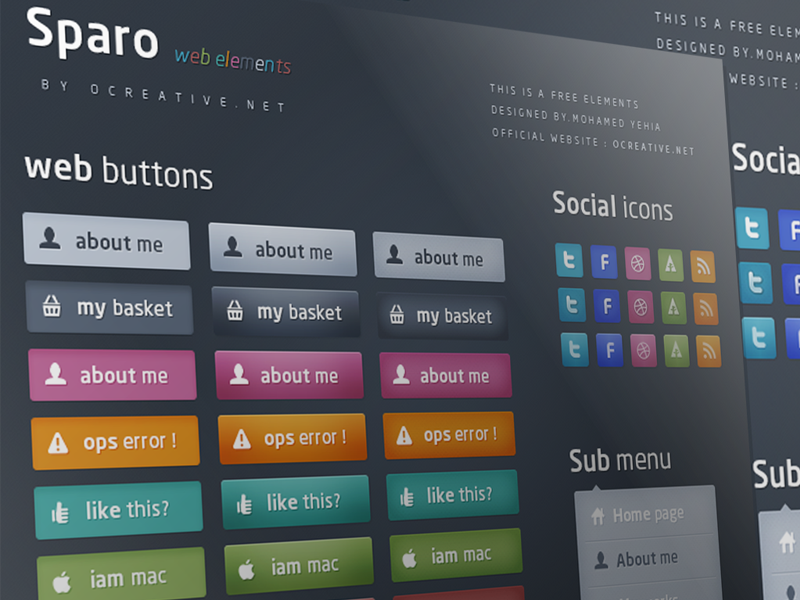 Sparo - Free web elements free psd colors colorfull menu bootstrap sub menu photoshop buttons icons social sparo web elements