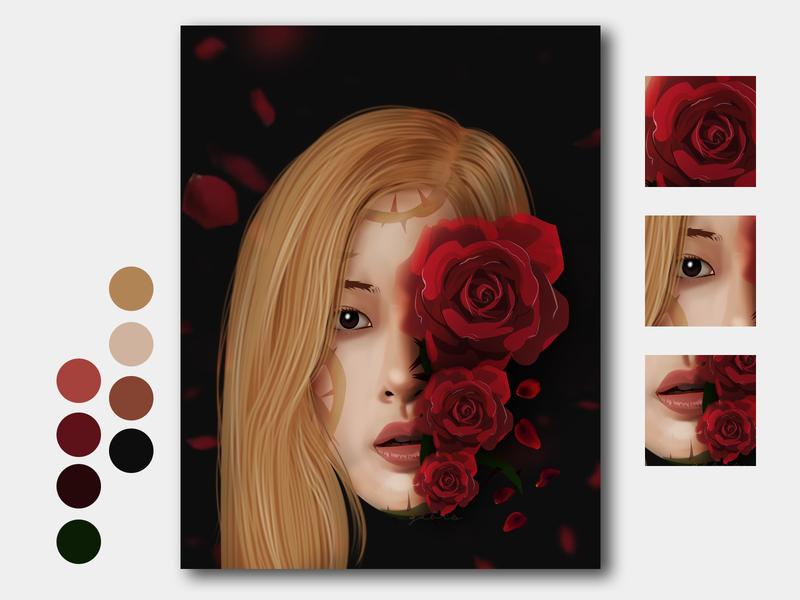 roses are rosie park chaeyoung rosie rose blackpink vexel art colors vector art ui cartoon design illustrator vexel graphic design cartooning dribbble illustration vector