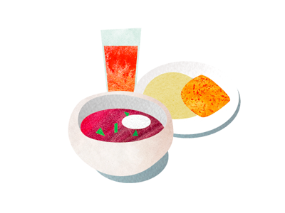 illustration for Kharkiv.Live magazine illustration magazine food textures watercolors dishes