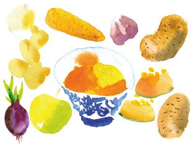 Pumpkin soup (ingredients) carrot watercolor food pumpkin soup menu ginger onion potato dinner restaurant ingredients