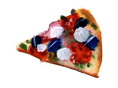 Pizza slice pizza illustration watercolor food
