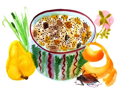 Porridge poppy seeds watercolor illustraion food
