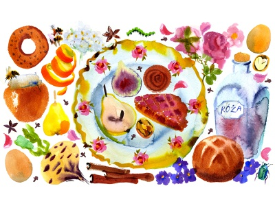 The History of Old Polish Cuisine fruits veggies baking pastry food menu watercolor illustration