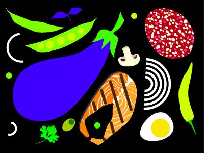 Barbaris cafe. Illustration for menu. illustration menu cafe food vegetables onion egg restaurant salmon