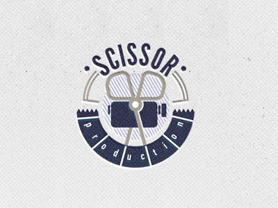 Logo Scissor production logo vintage grey