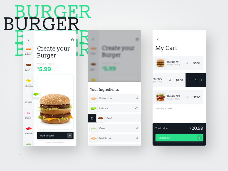 Food Mobile App. Create Your Burger drag and drop move buy cost delivery food and drink food app food app mobile app mobile hamburger menu hamburger burger king burger ingredient cart checkout