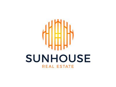 Sunhouse Real Estate Logo negative space building window technology energy eco orange sun design circle branding brand estate real house home simple line logotype logo