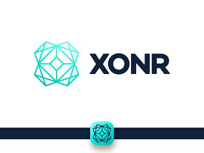 xonr logo technological line connection processor digital it chip technology tech brand identity branding design x logo letter x x letter branding brand simple logotype logo