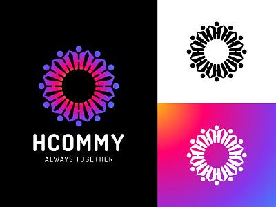 HCOMMY :: Logo team hand communication community sun together people man insta connect design agency branding simple brand letter h letter h logotype logo
