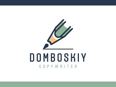 Domboskiy Copywriter Logo site book poet text blogging blog author personal copywriter pencil pen vector agency design branding brand simple line logotype logo
