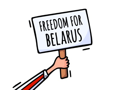 Freedom for Belarus vector flat hand drawn flag white red presidential election president nation illustration plank hold hand protest freedom belarus
