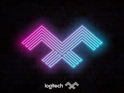 logitech MX v.4 eagle redesign concept logitech mx letter mx neon tech agency letter design branding brand simple line logotype logo
