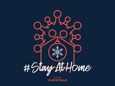 Safe Christmas illustration christmas card house prevention snowflake ball staysafe stayhome home virus coronavirus covid-19 new year merry christmas merry xmas christmas vector illustration simple line