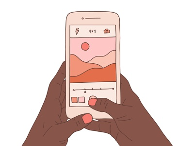 Landscape photo shooting illustration hand drawn photography sun mountain desert camera touchscreen display landscape nails african woman african hand iphone smartphone shooting photo illustration simple line