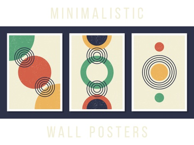 Minimalistic wall posters modern interior a4 paper grain flat minimalistic geometric circle contemporary art contemporary boho set poster wall art wall illustration line simple
