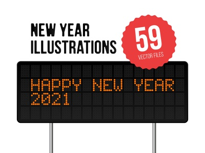 New Year Illustration set design typography greeting card cartoon flat isometric pixel neon light vector collection simple happy new year set illustration new year 2021 2021 new year