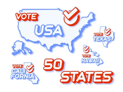 Set of US 50 vote states map flat sticker presidential election election presidential typography illustration vector choice check 50 states state map usa flag us america usa vote 2020 vote