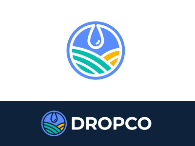 Dropco Logo garden rain healthy food green ecology eco agency circle design branding brand simple line logotype logo farm field water drop