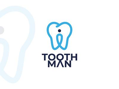 toothman logo people blue simple branding brand line logotype medicine medical doctor dentist location pin man logo clinic logo clinic brush tooth