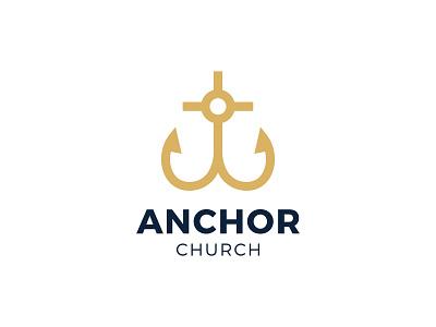 Anchor Church Logo sun gold calvary faith hope heart church logo christ jesus believe christian cross anchor church branding brand simple line logotype logo