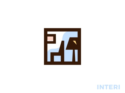 interi logo build home planning architect interior design frame square room picture lamp sofa furniture interior design branding brand simple line logotype logo