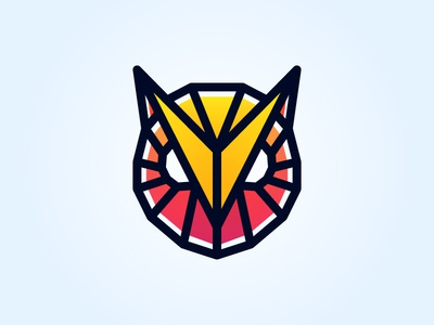 Owl black pink yellow bird agressive bold triangle head eye polygon poly sport owl face animal line logotype logo