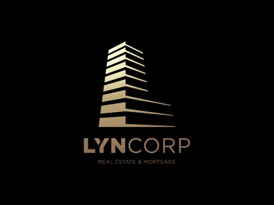 Lyncorp - Letter L logo perspective letter l letter corporate skyscraper gold mortgage real estate shadow construction building builder build line logo logotype