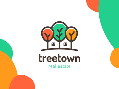 Treetown residential complex build negative space child horizon land window forest line house home three tree housing estate estate real logo