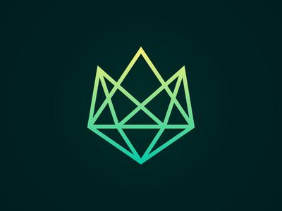 Mountain Gem rock green triangle polygonal poly symbol diamond luxury travel queen king crown line logotype logo gem mountain