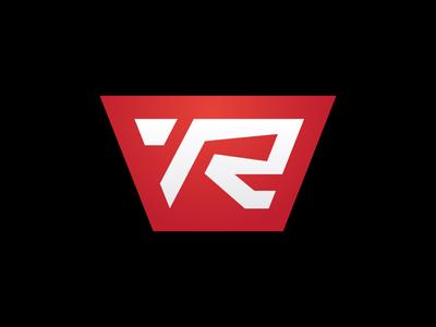 Revovelo moto emblem sport speed man red bike bicycle velocity r letter logotype logo revolution