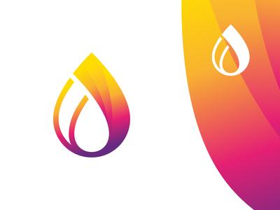 Drop + Flame orange rain woter line gradient rainbow gas oil fire flame drop logotype logo