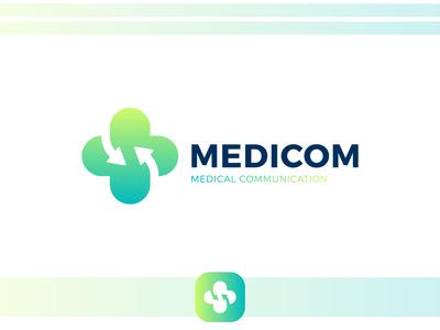 Medicom plus communication communicate network social share clinic hospital medicine medical app medic medical cross green arrow simple line logotype logo