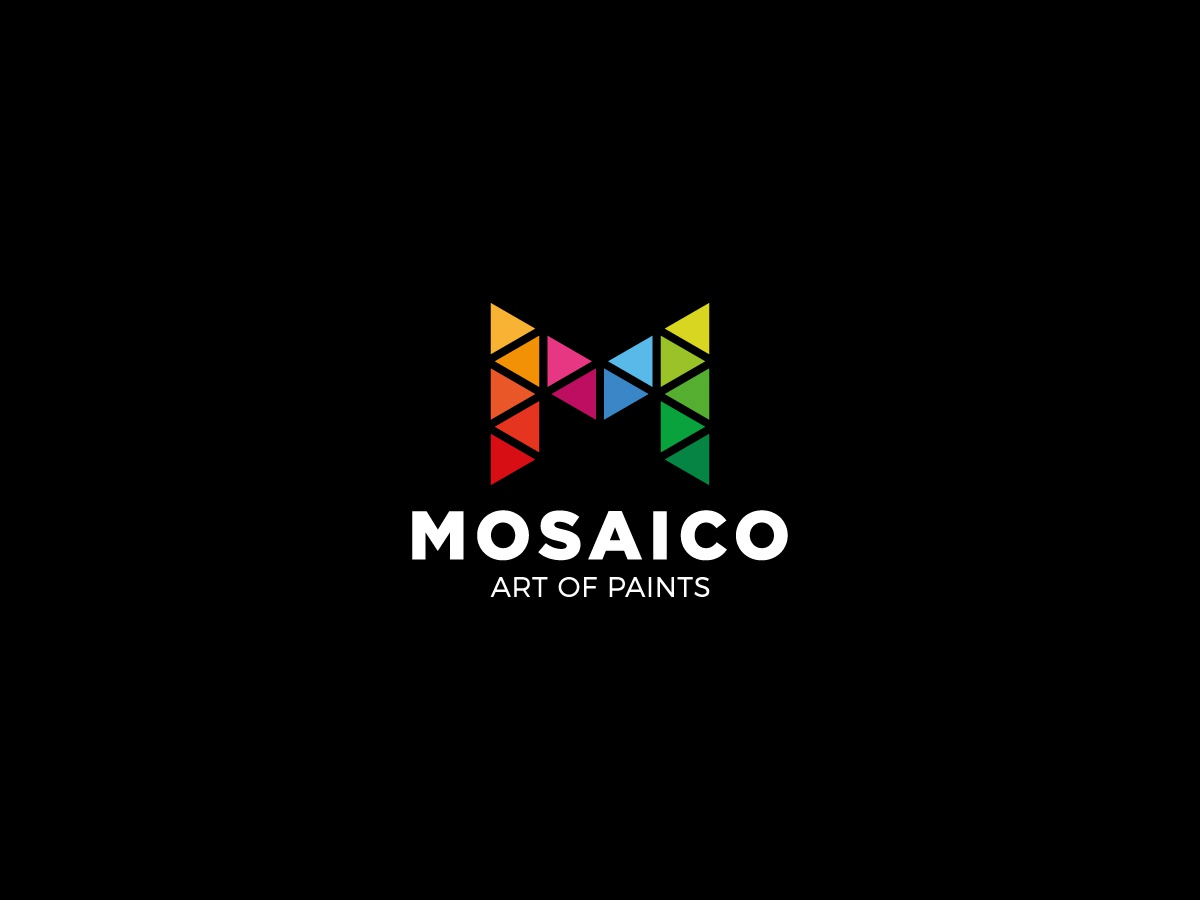 Mosaico - Letter M monogram line polygonal poly triangle logo colorful paint art mosaic m letter m lettermark letter triangle logotype logo