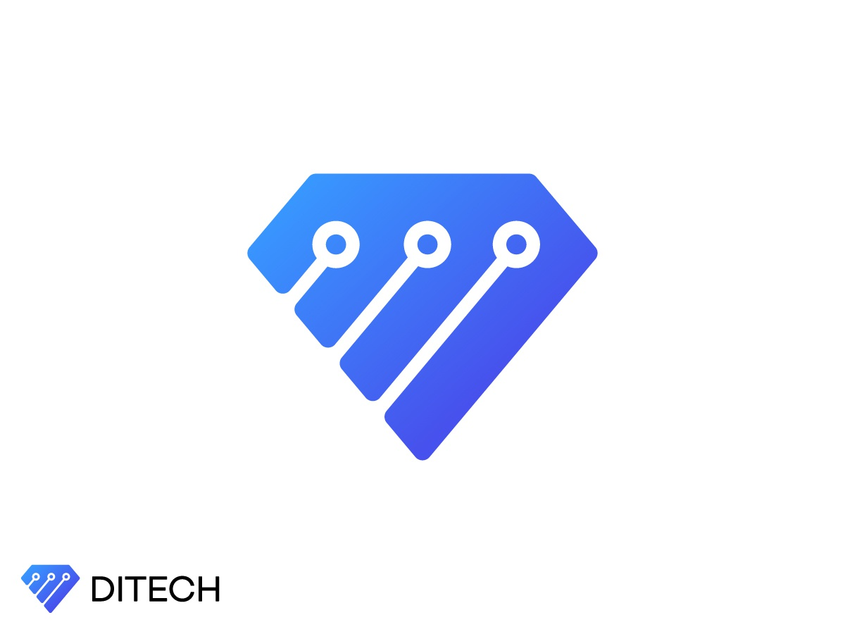 Ditech design connection connect dot three computer electronic app service blue chip technology tech brilliant diamond simple line logotype logo