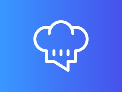Cookchat bubble branding brand speak food hat kitchen chef communication message talk cooking chat cook icon simple line logotype logo