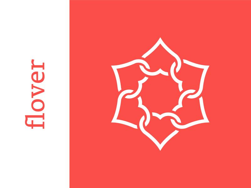 flover infinity connect star botanic botanical agency shape link floral heart love flower brand branding simple line logotype logo