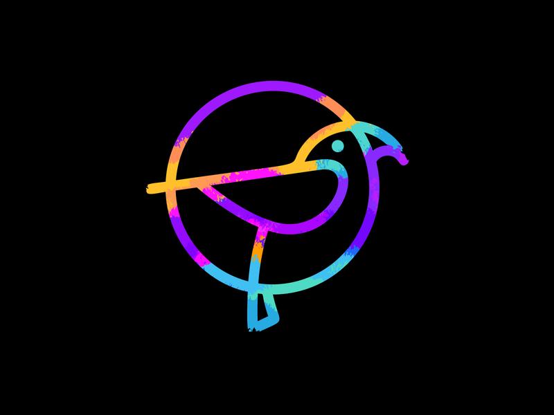 Weekly Warm-up  | Parrot icon rainbow paint painting brush weekly challenge challenge weekly warm-up parrot bird branding brand circle simple line logotype logo