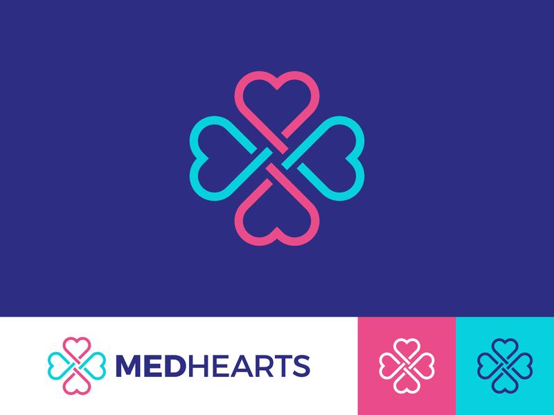 Medhearts v.1 four medical care care health blue agency crossroads cardio cardiology hospital branding brand line cross medicine medical love heart logotype logo