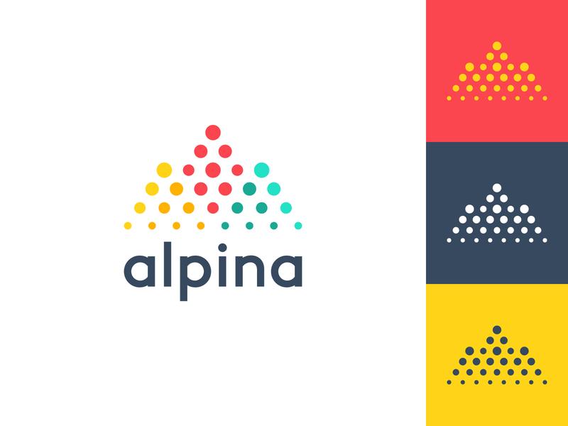 alpina mountain logo alpina up letter a halftone monitoring analitycs marketing top arrow digital mountain connect dot branding brand simple line logotype logo