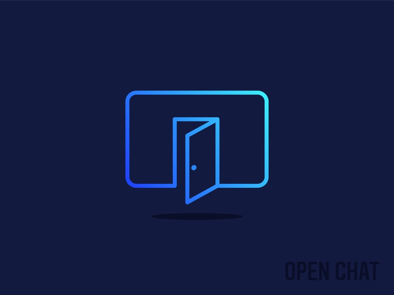 Open Chat Icon bubble communication community speak app chat app messenger message door talk chat open brand simple logotype iconography icon line logo