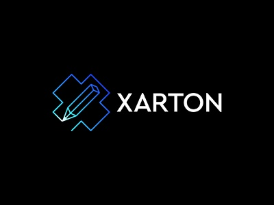 xarton logo creative app blue digital design art pencil art pen pencil letter x x letter branding brand simple line logotype logo