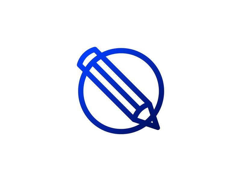 Pencil Art Logo Icon connect blue app icon pen pencil art agency design circle brand simple line logotype logo