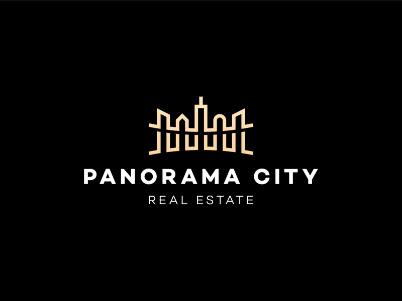 Panorama City Logo police shot camera lanscape monoline build real estate realestate connect agency branding brand simple line logotype logo town city panorama