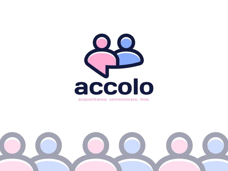 accolo logo lovely happy smile woman man communicate acquaintance romantic talk chatting sex couple app chat app love chat logotype logo