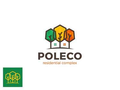 Poleco Logo seasons branding brand complex park forest three polygon poly quarter residential complex eco tree house home estate real logotype logo