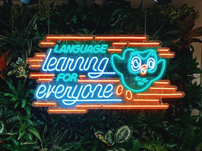 Duolingo Neon hand lettering owl plant wall neon sign